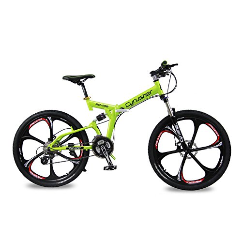 Selected-Cyrusher-RD-100-Green-Shimano-M310-ALTUS-Full-Suspenion-24-Speeds-Folding-Mens-Mountain-Bike-Bicycle-17-in-26-in-Aluminium-Frame-Disc-Brakes-0