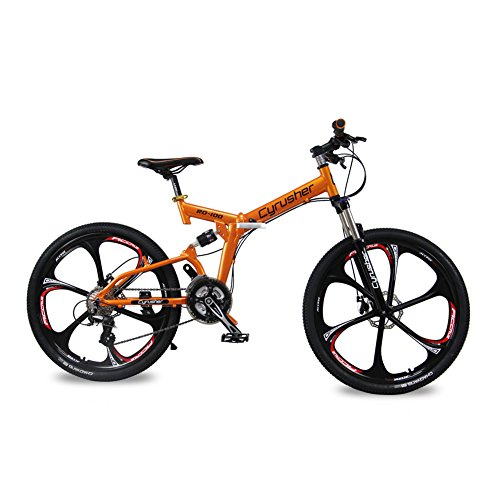 Selected-Cyrusher-RD-100-Orange-Shimano-M310-ALTUS-Full-Suspenion-24-Speeds-Folding-Mens-Mountain-Bike-Bicycle-17-in-26-in-Aluminium-Frame-Disc-Brakes-0