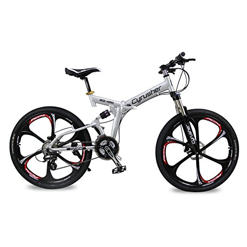 Selected-Cyrusher-RD-100-Silver-Shimano-M310-ALTUS-Full-Suspenion-24-Speeds-Folding-Mens-Mountain-Bike-Bicycle-17-in-26-in-Aluminium-Frame-Disc-Brakes-0