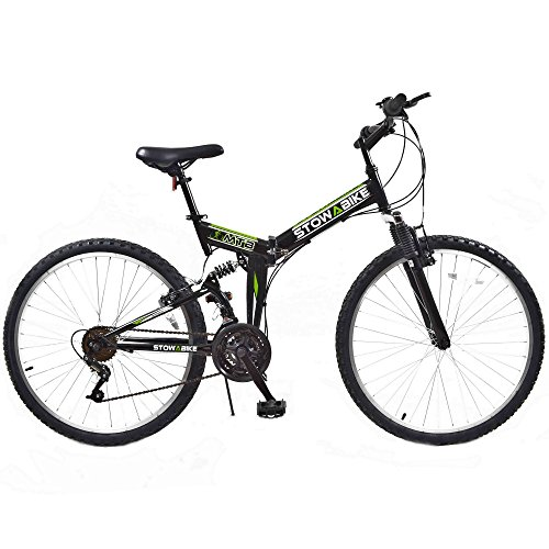 Stowabike-26-MTB-V2-Folding-Dual-Suspension-18-Speed-Gears-Mountain-Bike-Black-0