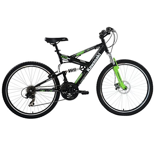 Kawasaki-DX-Full-Suspension-Mountain-Bike-26-inch-Wheels-19-inch-Frame-Mens-Bike-BlackGreen-0