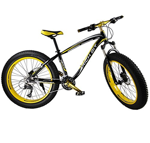Richbit-Cruiser-Mountain-Bike-Snow-Bike-Cycling-Aluminium-Frame-40-inch-Fat-Tire-17-X26-In-with-Suspension-Fork-27-Speeds-Hydraulic-Disc-Brakes-RT012-Yellow-0