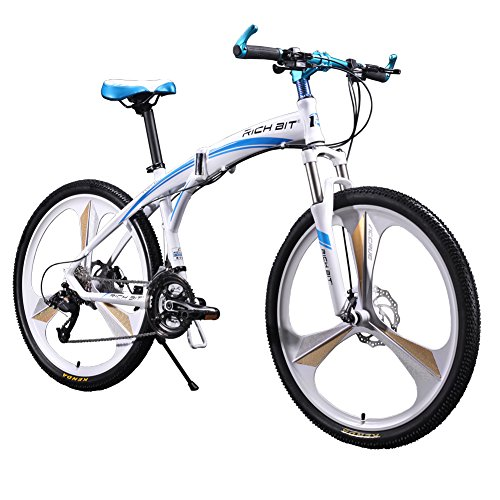 Richbit-New-601-Folding-bike-Mountain-Bike-26-inch-Mens-Aluminum27-Speeds-3-Spokes-White-Blue-0