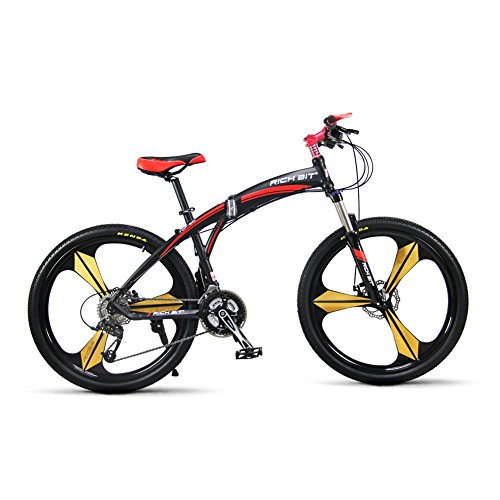 Richbit-New-601-Red-Black-26-inch-Mens-Aluminum-Folding-Mountain-Bike-27-Speeds-3-Spokes-0