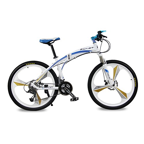 Richbit-New-RT601-Blue-17X26-inch-Mans-Folding-Mountain-Bike-Aluminum-Frame-MicroSHIFT-27-Speeds-3-Spokes-Disc-Brake-0