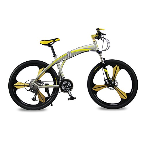 Richbit-New-RT601-Yellow-17X26-inch-Mans-Folding-Mountain-Bike-Aluminum-Frame-MicroSHIFT-27-Speeds-3-Spokes-Disc-Brake-0