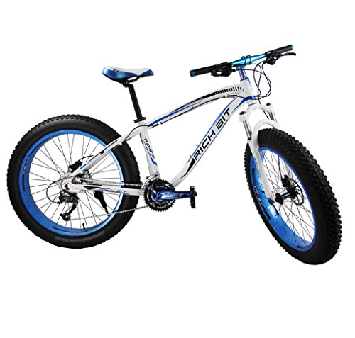 Richbit-Snow-Bike-Cruiser-Mountain-Bike-Cycling-Aluminium-Frame-40-in-Fat-Tire-17-X26-In-with-Suspension-Fork-27-Speeds-Hydraulic-Disc-Brakes-RT012-Blue-0