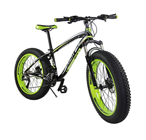 Richbit-Snow-Bike-Cruiser-Mountain-Bike-Cycling-Aluminium-Frame-40-in-Fat-Tire-17-X26-In-with-Suspension-Fork-27-Speeds-Hydraulic-Disc-Brakes-RT012-Green-0