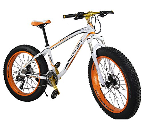 Richbit-Snow-Bike-Cruiser-Mountain-Bike-Cycling-RT012-Orange-Aluminium-Frame-40-in-Fat-Tire-17-X26-In-with-Suspension-Fork-27-Speeds-Hydraulic-Disc-Brakes-0