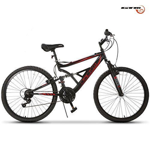 GTM-26-Mountain-Bike-18-Speed-Bicycle-Shimano-Hybrid-SuspensionBlackRed-0