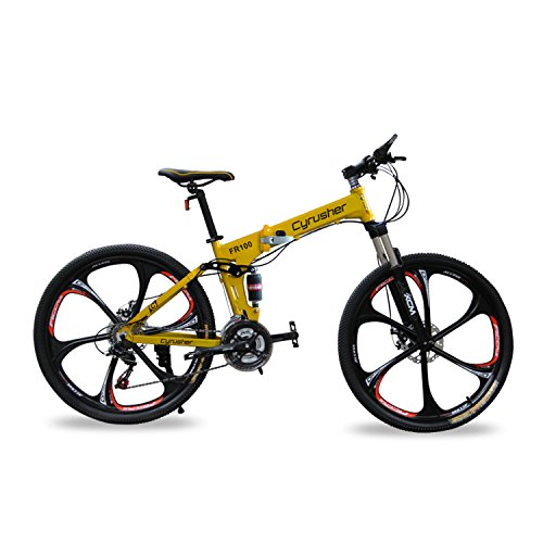 Cyrusher-FR100-Mens-Full-Suspenion-24-Speeds-Folding-Mountain-Bike-with-17-Inch-X-26-Inch-Aluminium-Frame-Disc-Brake-Yellow-26-Inch-0