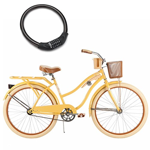 26-Huffy-Nel-Lusso-Cruiser-Bike-for-Women-Padded-Seat-with-Wire-Basket-and-Bike-Cable-Lock-Yellow-0