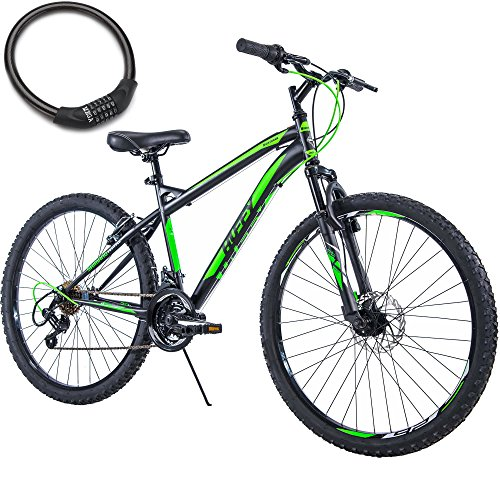26-Inch-Huffy-18-Speed-Steel-Frame-Adult-Mountain-Bike-for-Men-BlackGreen-with-Cable-Lock-0