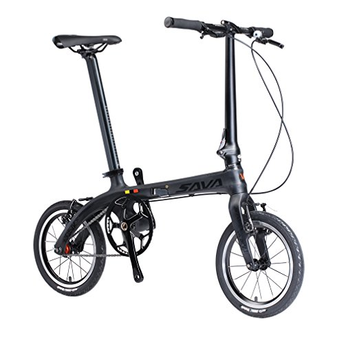 Folding Bike, SAVADECK 14 inch Carbon Fiber Frame Fixed Gear Single ...