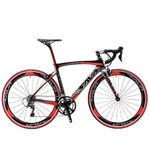 SAVADECK-700C-Road-Bike-T800-Carbon-Fiber-Frame-Fork-Seat-post-with-SHIMANO-TIAGRA-4700-20-Speed-Derailleur-System-and-KENDA-23C-Tire-0