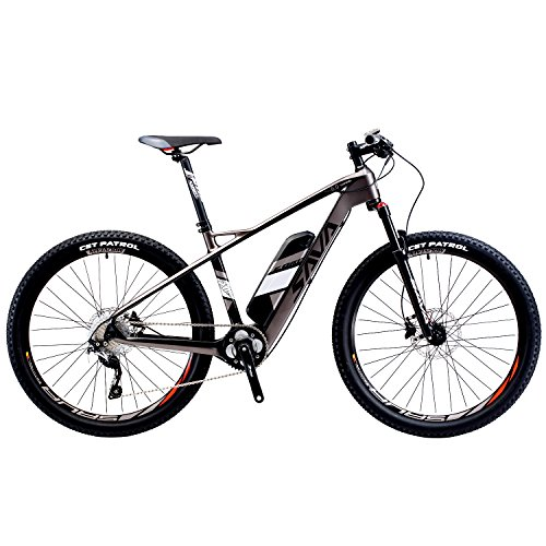 SAVADECK-Carbon-Fiber-Electric-Mountain-Bike-275-inch-e-bike-Pedal-assist-MTB-Pedelec-Bicycle-with-Shimano-10-Speed-and-Removable-36V-14Ah-SAMSUNG-Li-ion-Battery-Black-Grey-0