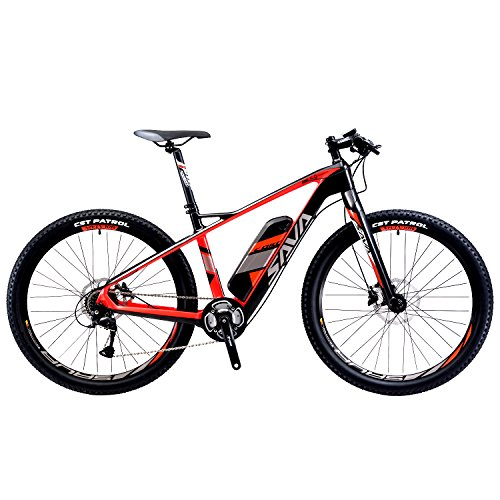 SAVADECK-Carbon-Fiber-Electric-Mountain-Bike-275-inch-e-bike-Pedal-assist-MTB-Pedelec-Bicycle-with-Shimano-9-Speed-and-Removable-36V-14Ah-SAMSUNG-Li-ion-Battery-Black-Red-0