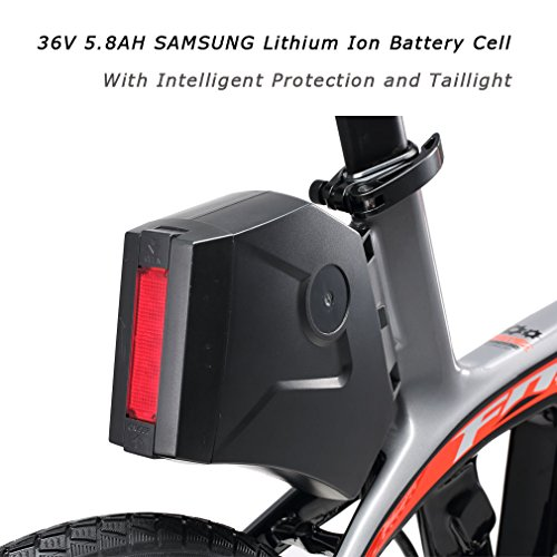 SAVADECK-E6-Electric-Bicycle-Carbon-Fiber-20-Folding-E-bike-36V-250W-Pedal-assist-Pedelec-Foldable-Bicycle-with-SHIMANO-SORA-9-Speed-and-Removable-36V-58Ah-SAMSUNG-Li-ion-Battery-0-2