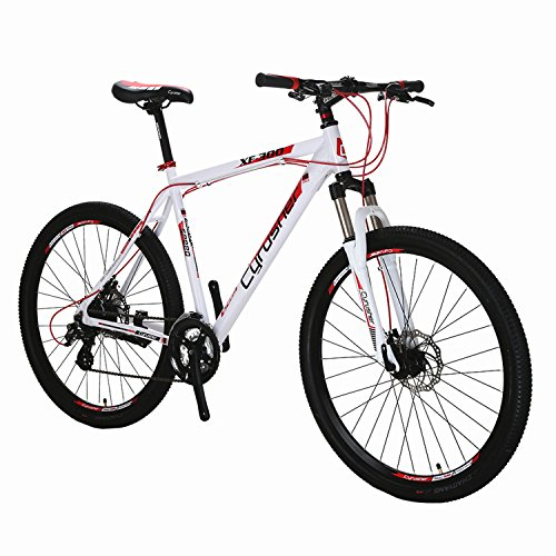 21-Frame-275-Hardtail-Mountain-Bike-MTB-Cyrusher-XF300-Shimano-24-Speed-Aluminum-Frame-Quick-Release-Wheels-Dual-Disc-Brakes-Suspension-Fork-White-Red-0