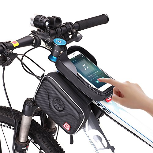 AKM-Carbon-Fiber-Waterproof-handlebar-Bag-Top-Tube-Bicycle-Frame-Bag-Sunshade-Touch-Screen-Smart-Phone-Case-Road-Bike-Bag-for-Bike-Accessory-Compatible-with-GPS-MP3-Iphone-0