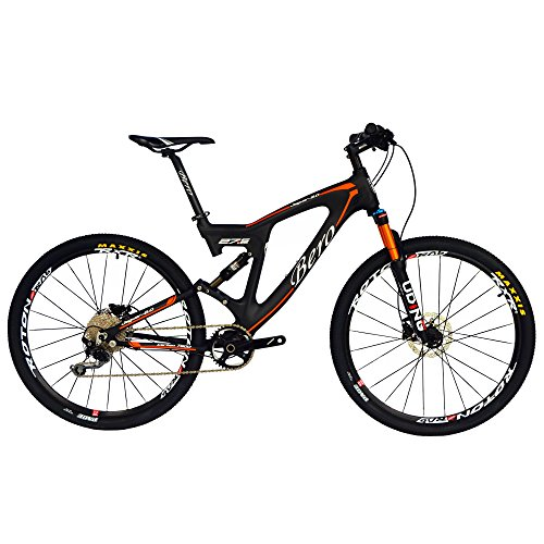 BEIOU-Carbon-Dual-Suspension-Mountain-Bicycles-All-Terrain-275-Inch-MTB-650B-Bike-SHIMANO-DEORE-10-Speed-127kg-T700-Frame-Matte-3K-CB22-Orange-18-0