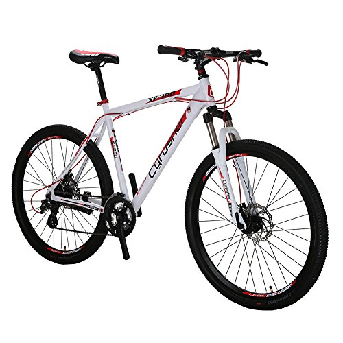 Black-Friday-VTSP-XF300-21-Frame-Aluminum-Frame-Mountain-Bike-MTB-Shimano-24-Speed-Dual-Disc-Brakes-Suspension-Fork-white-red-Gift-For-Unisex-Ships-From-US-Warehouse-0
