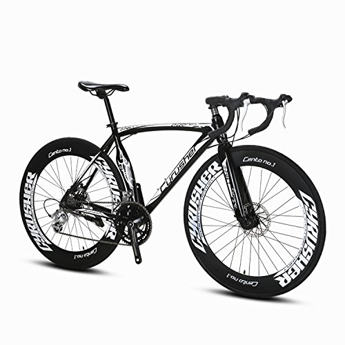 Cyrusher-Black-Aluminium-Frame-54-cm-700C-70MM-Mens-Road-Bike-Shimano-2300-14-Speeds-Road-Bicycle-Mechanical-Disc-Brakes-0