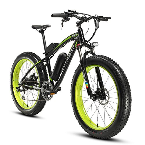 Cyrusher-Fat-Tire-Bike-Snow-Bike-Mountain-Bike-with-Motor-500W-48V-Lithium-Battery-Extrbici-XF660-Shimano-7-Speeds-System-40-inch-Fat-Tire-Suspension-Fork-Dual-Disc-Brakes-0