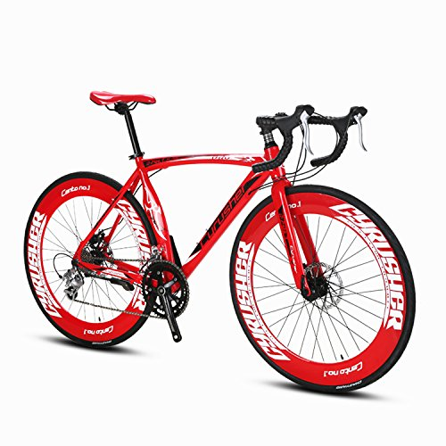 Cyrusher-Red-Aluminium-Frame-54-cm-700C-70MM-Mens-Road-Bike-Shimano-2400-16-Speeds-Road-Bicycle-Mechanical-Disc-Brakes-0