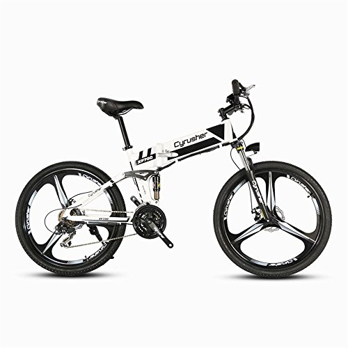 Cyrusher-XF700-Folding-Electric-Bike-26-inch-Mountain-Bicycle-Full-Suspension-36V-104AH-Hidden-Battery-Shimano-21-Speeds-Double-Mechanical-Disc-Brake-0