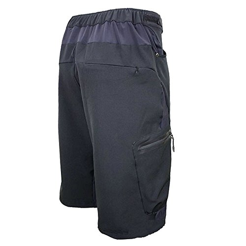 ALLY-Mens-Water-Repellent-MTB-Baggy-Cycling-Shorts-Loose-Fit-Bicycle-Biking-12-Pants-Outdoor-Sports-Leisure-Bottoms-XXL-36-38-Black-0-0