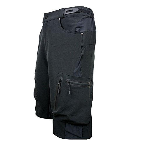 ALLY-Mens-Water-Repellent-MTB-Baggy-Cycling-Shorts-Loose-Fit-Bicycle-Biking-12-Pants-Outdoor-Sports-Leisure-Bottoms-XXL-36-38-Black-0-1