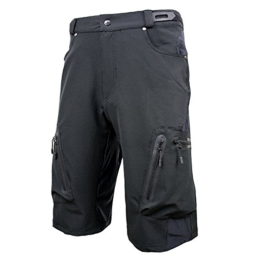 ALLY-Mens-Water-Repellent-MTB-Baggy-Cycling-Shorts-Loose-Fit-Bicycle-Biking-12-Pants-Outdoor-Sports-Leisure-Bottoms-XXL-36-38-Black-0