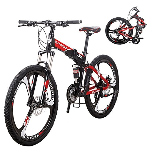 EUROBIKE-A6-Aluminum-Frame-Mountain-Bike-21Speed-3-Spoke-Wheel-Folding-bike-0