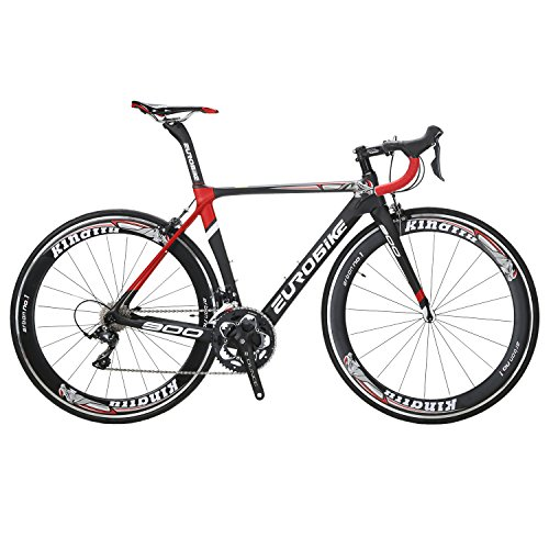 EUROBIKE-EU900-50CM-Carbon-Frame-Road-Bike-18-Speed-700C-Racing-Bicycle-Black-red-60-0