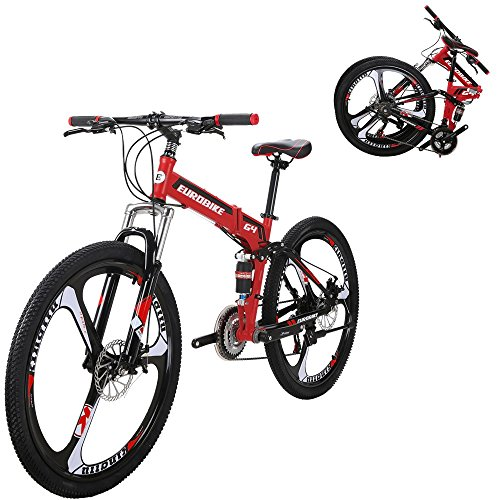 EUROBIKE-G4-21-Speed-Mountain-Bike-26-Inches-3-Spoke-Wheels-Dual-Suspension-Folding-Bicycle-Red-0