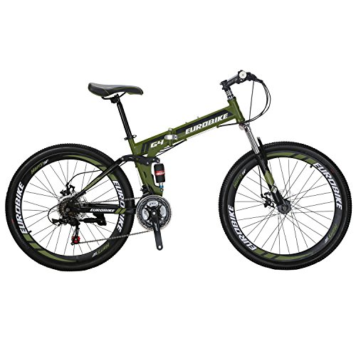 EUROBIKE-G4-Mountain-Bike-21-Speed-26-Inches-Dual-Suspension-Folding-Bike-Dual-Disc-Brake-MTB-Bicycle-Amygreen-0
