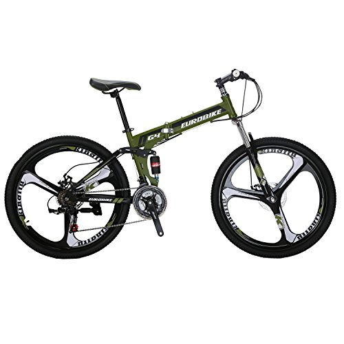 EUROBIKE-G4-Mountain-Bike-26-Inches-3-Spoke-Dual-Suspension-Folding-Bike-21-Speed-MTB-Amygreen-0