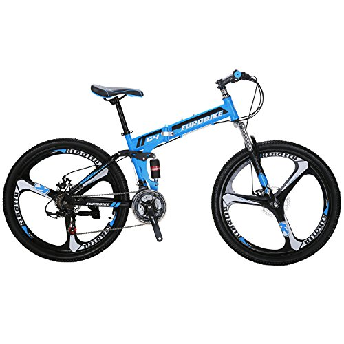 EUROBIKE-G4-Mountain-Bike-26-Inches-3-Spoke-Wheels-Dual-Suspension-Folding-Bike-21-Speed-MTB-Blue-0