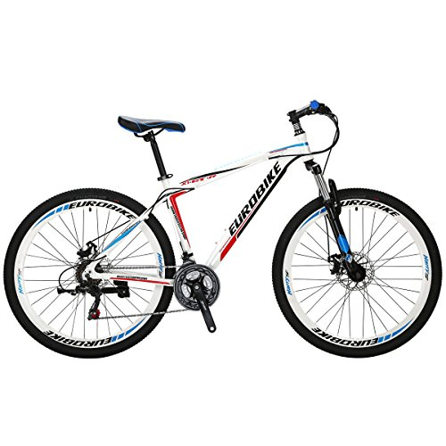 EUROBIKE-Mountain-Bike-GTR-275-21Speed-Dual-Disc-Brake-Aluminum-Bicycle-White-0