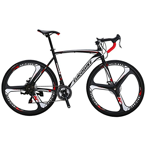 EUROBIKE-XC550-21-Speed-54-Cm-Frame-Road-Bike-700C-3-Spoke-Wheels-Dual-Disc-Brake-Road-Bicycle-Black-White-0