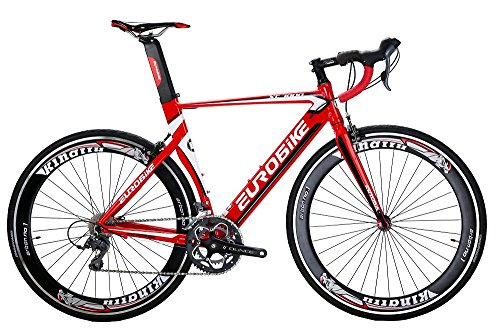 EUROBIKE-XC7000-16-Speed-Road-Bike-54-Cm-Light-Aluminum-Frame-700C-Road-Bicycle-Red-60-0