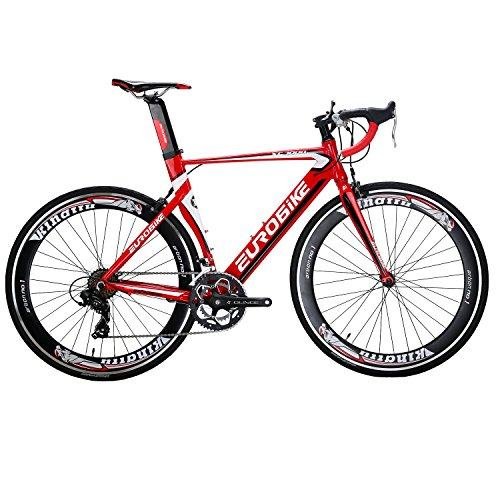 EUROBIKE-XC7000-54CM-Light-Aluminum-Frame-Road-Bike-14-Speed-700C-Racing-Bicycle-Red-60-0-0