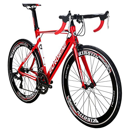 EUROBIKE-XC7000-54CM-Light-Aluminum-Frame-Road-Bike-14-Speed-700C-Racing-Bicycle-Red-60-0
