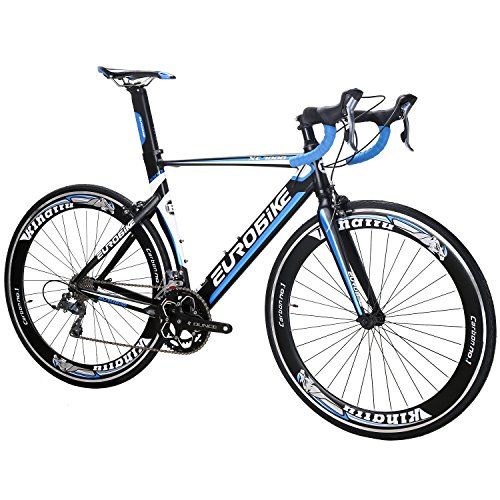 EUROBIKE-XC7000-54CM-Light-Aluminum-Frame-Road-Bike-16-Speed-700C-Racing-Bicycle-Blackblue-0