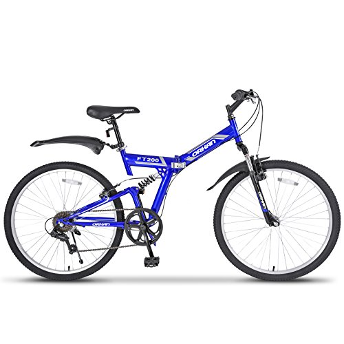 GTM-26-Folding-Mountain-Bike-7-Speed-Bicycle-Shimano-Hybrid-Suspension-MTB-Blue-0