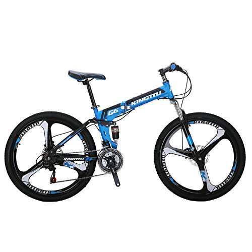 Kingttu-G6-Mountain-Bike-26-Inches-3-Spoke-Wheels-Dual-Suspension-Folding-Bike-21-Speed-MTB-Blue-2018-0