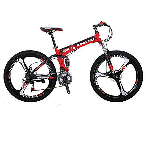 Kingttu-G6-Mountain-Bike-26-Inches-3-Spoke-Wheels-Dual-Suspension-Folding-Bike-21-Speed-MTB-Red-2018-0