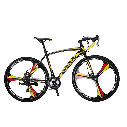 VTSP-XC550-Road-Bicycle-700Cx28C-Steel-Hard-Frame-21-Speeds-Road-Bike-Solid-Wheel-Integrated-Wheel-Curved-Handlebar-Double-Disc-Brake-Cycling-Gifts-For-Man-Promotion-US-Warehouse-YELLOW-0