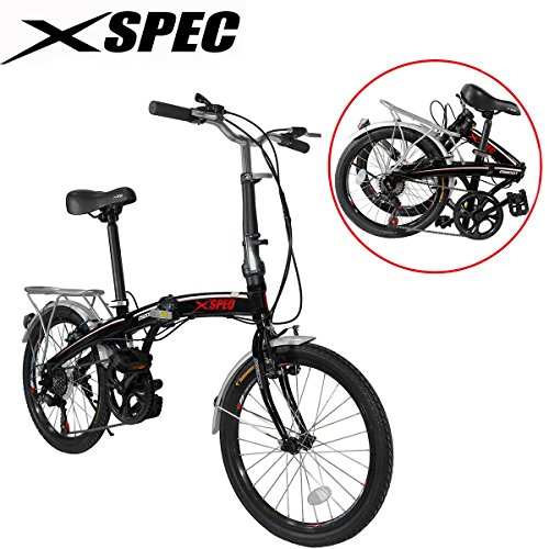Xspec-20-7-Speed-City-Folding-Compact-Bike-Bicycle-Urban-Commuter-Shimano-Black-0